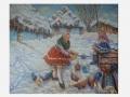 Dve ženy na zimnom dvore / Two women on winter barnyard